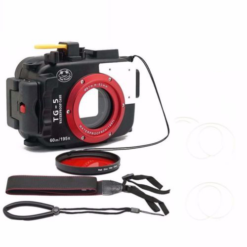 Seafrogs 195FT/60M Underwater camera waterproof diving housing for Olympus TG-5 Black with Red Filter 67mm for gift