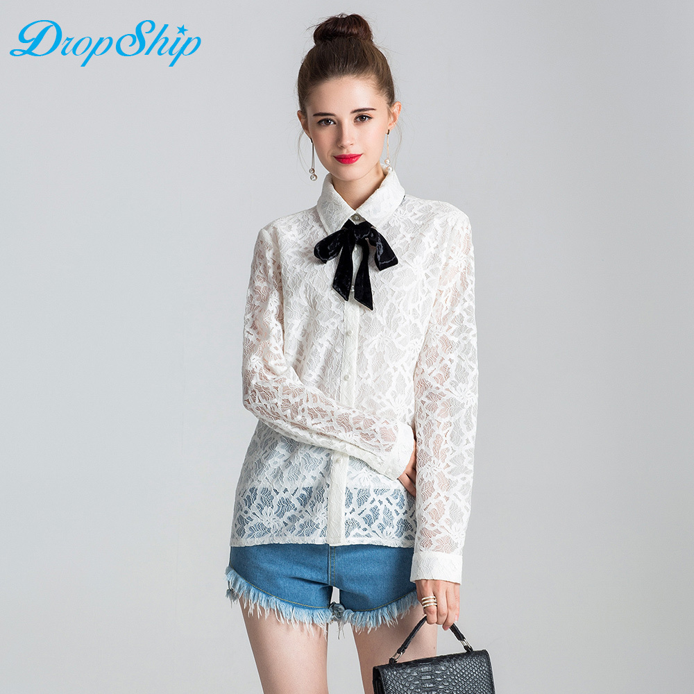 Streetwear 2018 Summer Women Fashion Lace Floral Patchwork Blouse Long Sleeve Button Fly Shirts White Turn-down Collar Tops