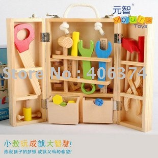 Freeshipping Wooden Tool Toy Box With Bench Hammer Nuts
