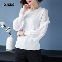 XJXKS Spring Sweater Women Thin Pullover Unique Sleeve Fashion Top Linen Knitted Fashion Solid Sweaters Breathable Tops