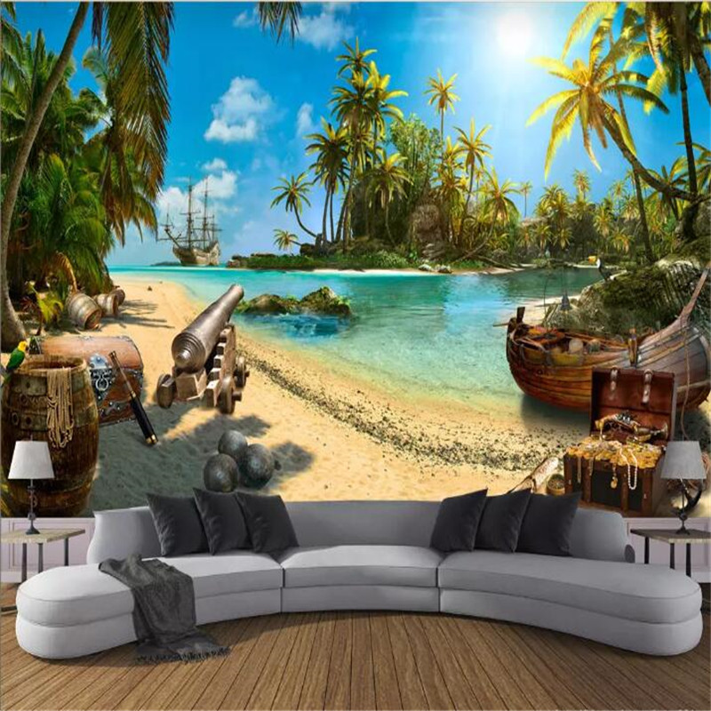Pirate Treasure Island Landscape 3D Background Wall Customized Big Wallpaper Mural Photo Factory Wholesale