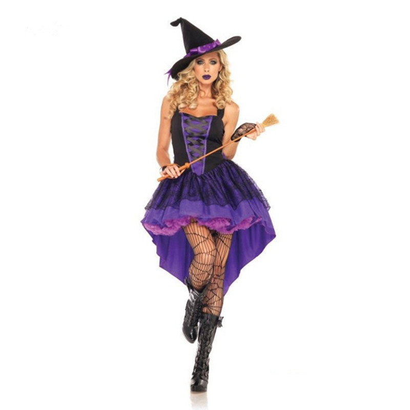 b40563391cc Adult Witch Costume Halloween Witch Dress Sexy Costumes For Women Halloween  Christmas Costume Long Purple Swallowtail