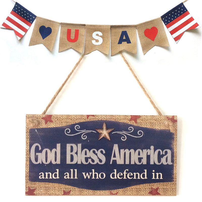 Image 5 - Rustic Wooden Hanging Plaque Sign Board God Bless America Room Wall Door Home Decoration Gift-in Plaques & Signs from Home & Garden