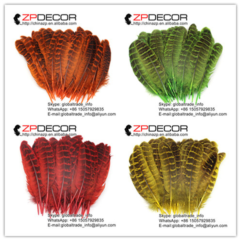 ZPDECOR 100 pieces/lot 8-15cm(3-6inch) Pretty Deyd Multi-Color Ringneck Pheasant Hen Quill Wing Feathers For Carnival Decoration