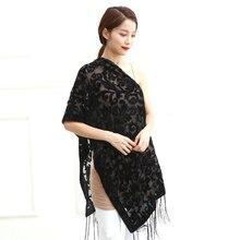 США черный бархатный выгорающий шарф женская свадебная шаль барокко мусульманский хиджаб стиль обертывание пашмины подарок для влюбленных
