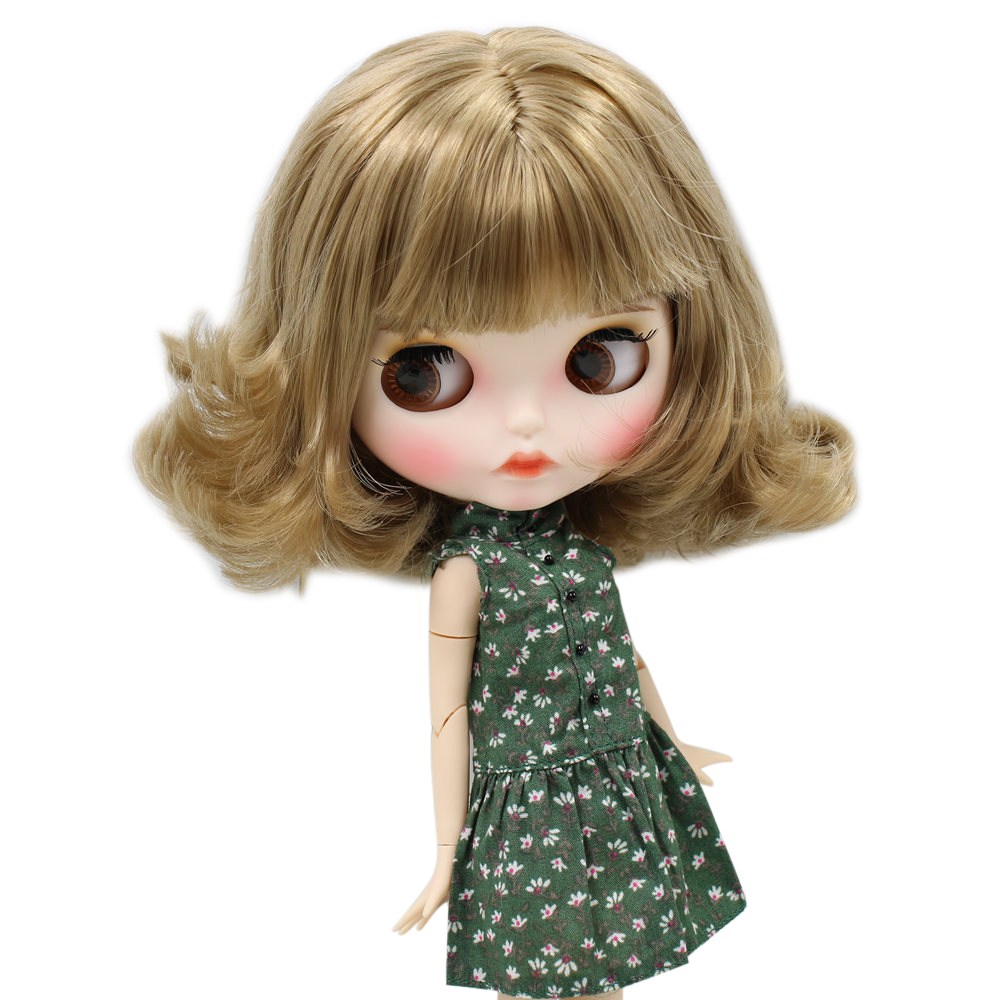 ICY Nude Blyth Doll For No BL3227 Brown hair Carved lips Matte face with eyebrows Joint