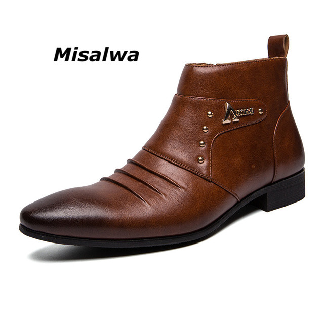 Misalwa Ankle Pointed Top Zip Men Chelsea Boots Spring Autumn Solid Vintage Leather Chaussure Homme Male 2019 Dress Boots