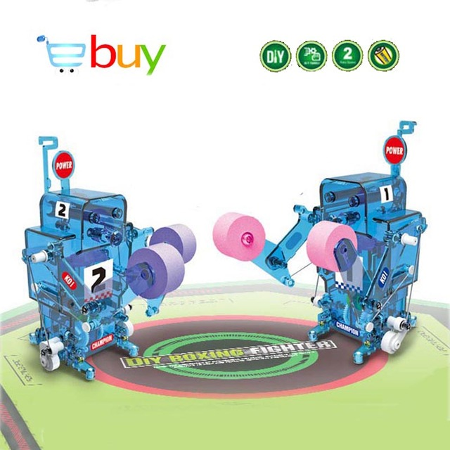 DIY Science Robot Solar Toys Kits Water Powered Boxing Robot Brine Assembly Model Building Blocks Children Kids Educational Toys