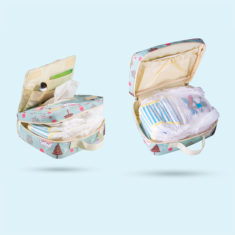 Sunveno Baby Diaper Bags Maternity Bag for Disposable Reusable Fashion Prints Wet Dry Diaper Bag Double Handle Wetbags 21*17*7CM 1