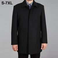 2018 High Quality Men Wool Coat Autumn Winter Overcoat Wool Woolen Jacket Male Pea Coat Men Winter Long Coat Homme Plus Size 7XL