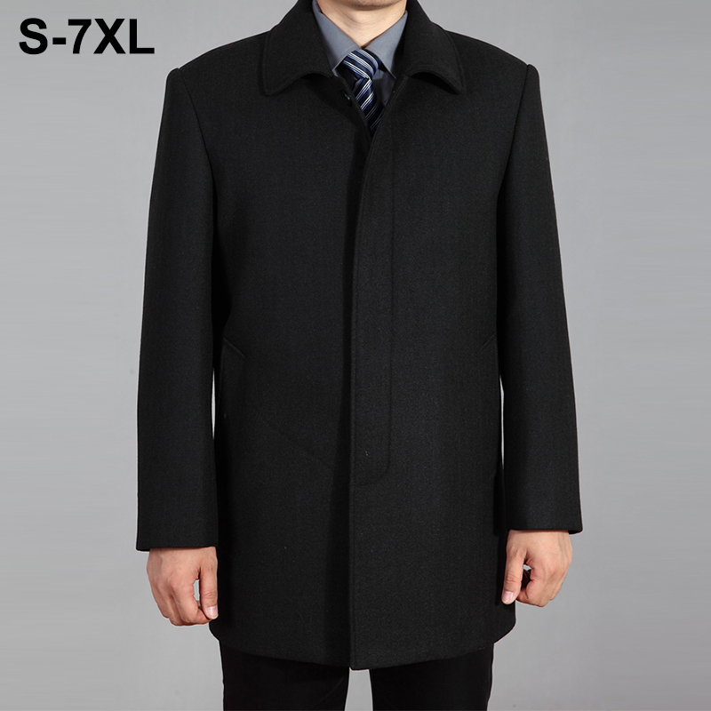 2019 High Quality Men Wool Coat Autumn Winter Overcoat Wool Woolen Jacket Male Pea Coat Men Winter Long Coat Homme Plus Size 7XL-in Wool & Blends from Men's Clothing    1