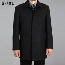 2019 High Quality Men Wool Coat Autumn Winter Overcoat Woolen Jacket Male Pea Long Homme Plus Size 7XL