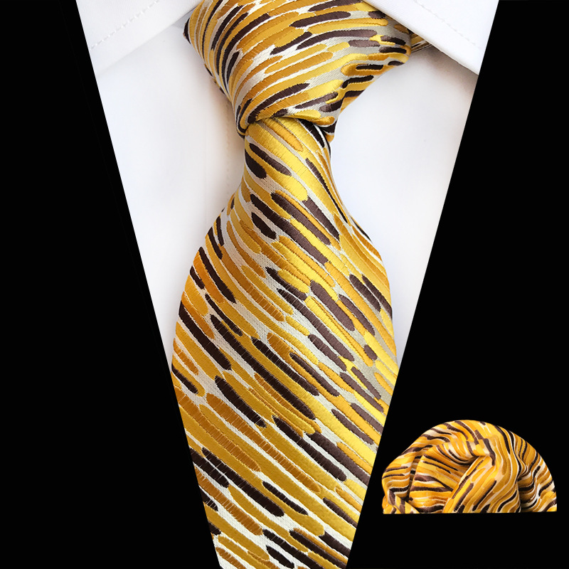Ties For Men Yellow Blue Striped Silk Classic Jacquard Woven Tie Hanky Set For Business Wedding Party Drop Shipping