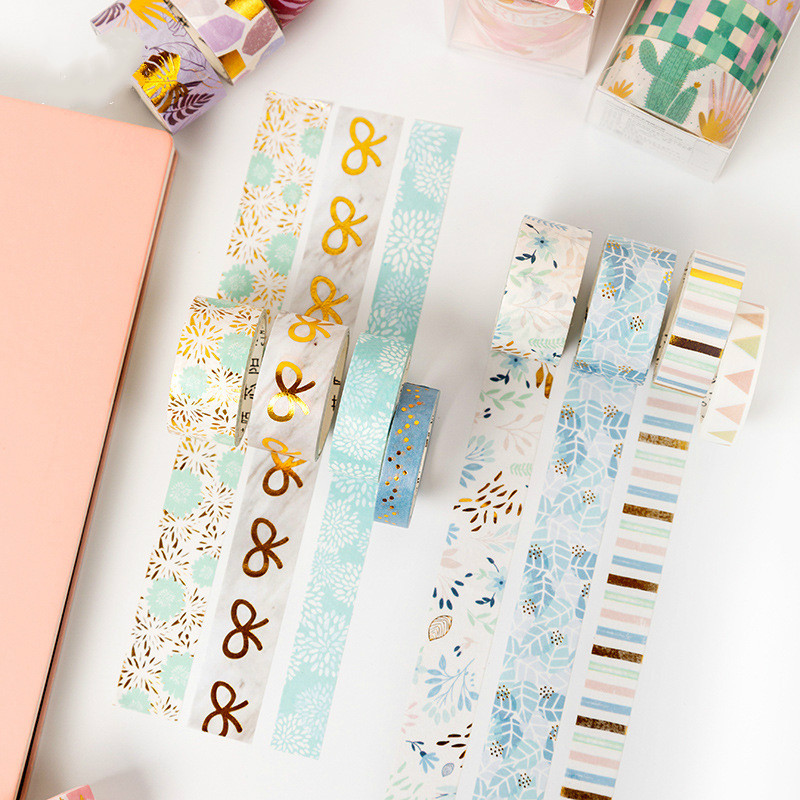 4Rolls/Pack Foil Washi Tape Diy Decoration Scrapbooking Planner Bowknot Masking Tape Adhesive Tape Label Sticker Stationery Tool