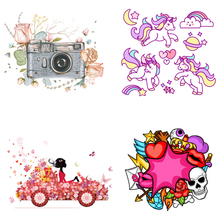 Unicorn Heart Camera Iron-On Heat Transfers Cartoon Ironing Stickers Stripe on Clothes Iron Patches for T-shirt Print Tops E