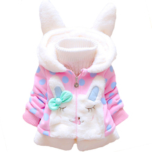 Детская куртка в горошек с кроликом для маленьких девочек; пальто; Верхняя одежда с кроликом для девочек; одежда с капюшоном для малышей; Верхняя одежда для маленьких девочек