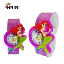 Cartoon Mermaid  Children's Watches Kids Quartz Wristwatches Baby Clock Beat circle Child watch for Girl Boy Gift Relogio Montre