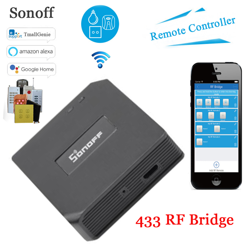 Sonoff RF Bridge, 433 RF Remote Converter 433 to WiFi Remote Control,Smart Home Automation Module Wifi Switch Diy ControllerSonoff RF Bridge, 433 RF Remote Converter 433 to WiFi Remote Control,Smart Home Automation Module Wifi Switch Diy Controller