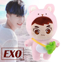22cm New Kpop EXO XIUMIN Plush Dolls Cute Animal Character Plush Toy Stuffed Doll Fans Gift Collection Doll With Bag 2019 New