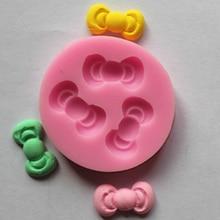 Mini Bowknot 1 pc 3D Cake Mold Silicone Bowknot Tie Cake Fondant Chocolate Mould Ribbon Sugar Cake Tools