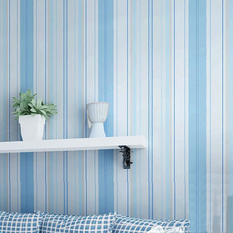 Mediterranean Blue Pink Vertical Stripes Non-Woven Wallpaper Boys And Girls Children's Room Backdrop Wall Decor Wall Papers Roll contemporary and contracted non woven wallpaper vertical stripes boy born children room bedroom wall stickers blue mediterranean