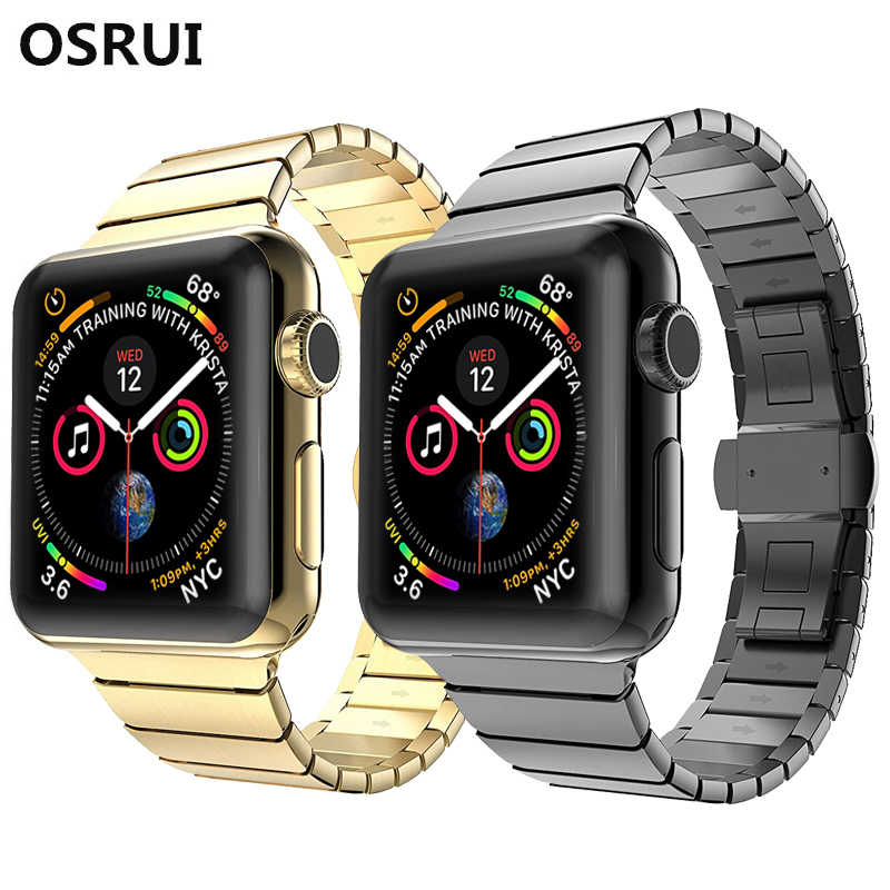 Osrui Tali untuk Apple Watch Band 4 44 Mm 42 Mm Butterfly Loop Saya Jam Tangan 3/2/1 40 MM/38 Pergelangan Tangan Stainless Steel Link Gelang Gelang Jam