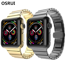 OSRUI strap For Apple watch band 4 44mm 42mm butterfly loop iwatch 3/2/1 40mm/38 wrist stainless steel Link bracelet watchband crested luxury butterfly loop for apple watch band strap 42mm 38mm iwatch 3 2 1 stainless steel link bracelet watchband belt