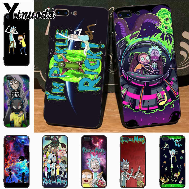 Yinuoda dibujos animados Rick y Morty Diy impresión colorida dibujo TPU funda para Apple iPhone 8 7 6S Plus funda de X 5S 11pro SE 5C