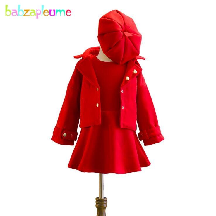 Boutique Kids Clothes Fashion 2018 New Autumn Winter Korean Baby Girls Wool Coats+Dress+Hats 3PCS Children Clothing Set BC1122-1 2016 new autumn winter womens wool fedora hat wide brim cowboy panama jazz hats