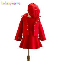 Boutique Kids Clothes Fashion 2018 New Autumn Winter Korean Baby Girls Wool Coats+Dress+Hats 3PCS Children Clothing Set BC1122 1