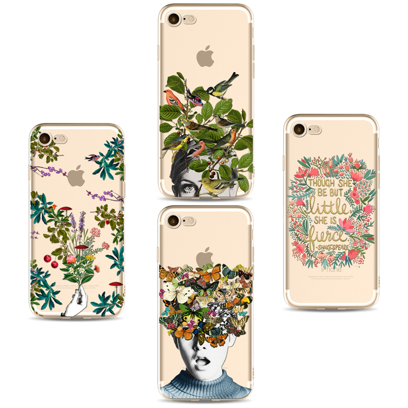 Colorful Phone Cases For Iphone 6 6s 6Plus 7 7plus Soft Clear TPU Silicon Ultra-Thin Flowers on the Head for iPhone 8Phone Cover