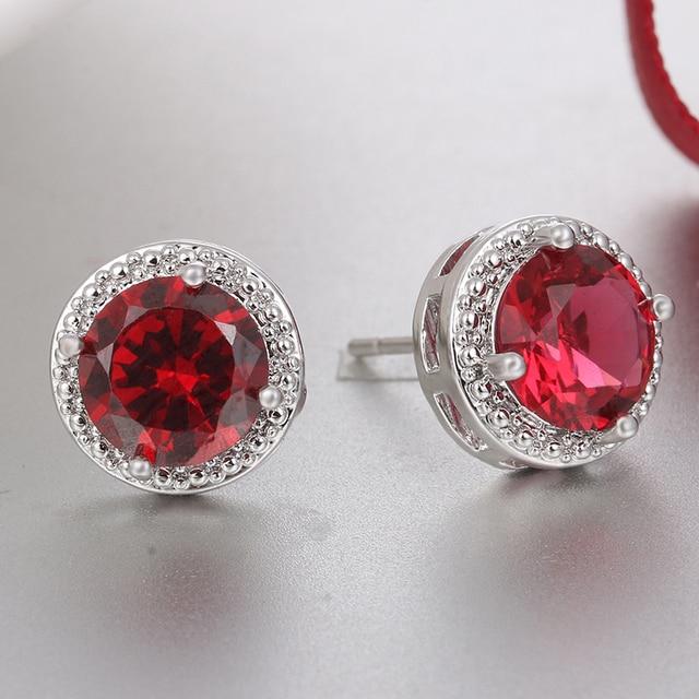 Classic Green Zirconia Stud Earrings Round Crystal Women Multicolor Fashion Jewelry 3