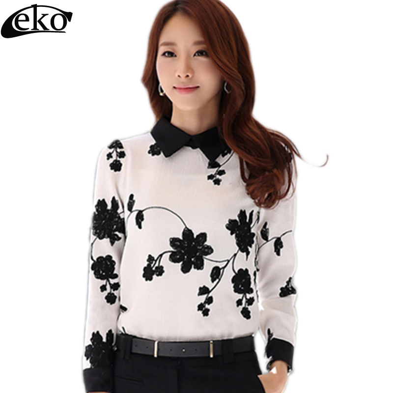 Spring Long Sleeve Chiffon Women Blouses 2019 Embroidered Bowknot Ladies Shirt Elegant White Chiffon Blouses Feminines