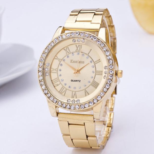 fashion casual watch Women's Men's Crystal Rhinestone Stainless Steel Analog Quartz Wrist Watch popular women