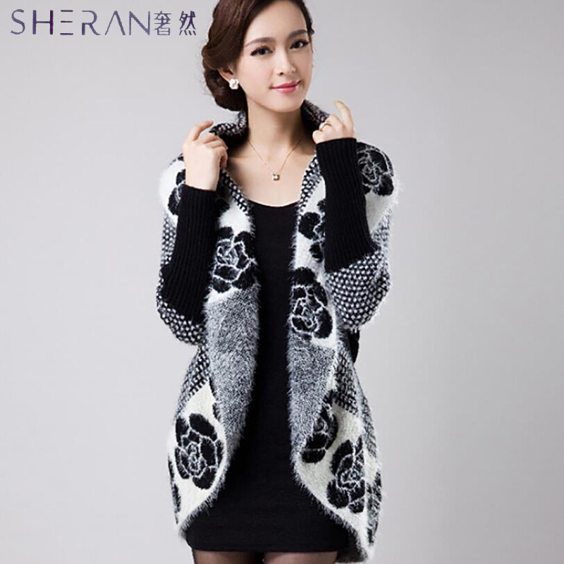 2016 Spring Autumn Women Korean Fashion Flower Mohair Knit Shawl Cardigan  Sweater Jacket Medium Long Sweaters ... d41daf80e