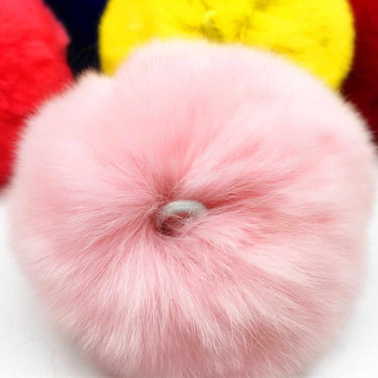 Rainbery Multicolor DIY Grande 8 cm Artesanais Pompons De Pele De Coelho Chapéu de Bola para o Anel Chave Chaveiro Hangbag Charme
