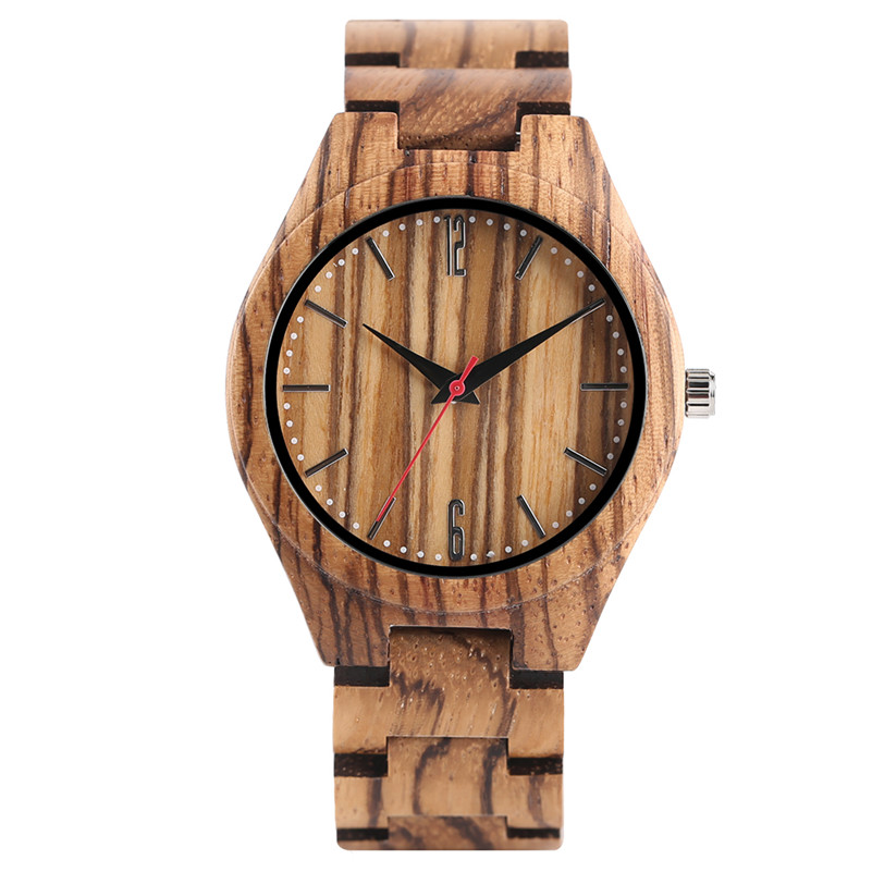 Creative Zebra Pattern Wood Watch Men Analog Full Wooden Bangle Women Wrist Watches Fashion Simple Handmade Bamboo Clock Gift fashion top gift item wood watches men s analog simple bmaboo hand made wrist watch male sports quartz watch reloj de madera