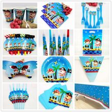 Birthday Pirate Happy Birthday Kids Party Baby Banner Hat Decorations Kids Birthday Cup Plate Straw Loot Bag Fork Gift bag(China)