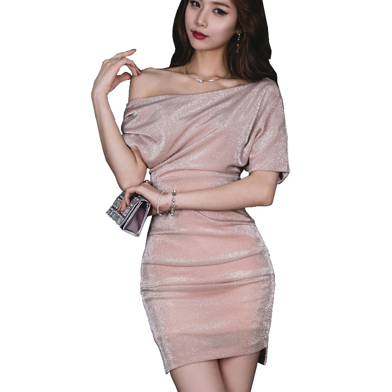 Sexy Nude Pink Dress Lurex Petite Women Short Sleeve Oblique Inclined Shoulder Wrap Hip Ruched Mini Dress Pin Up High-End Dess