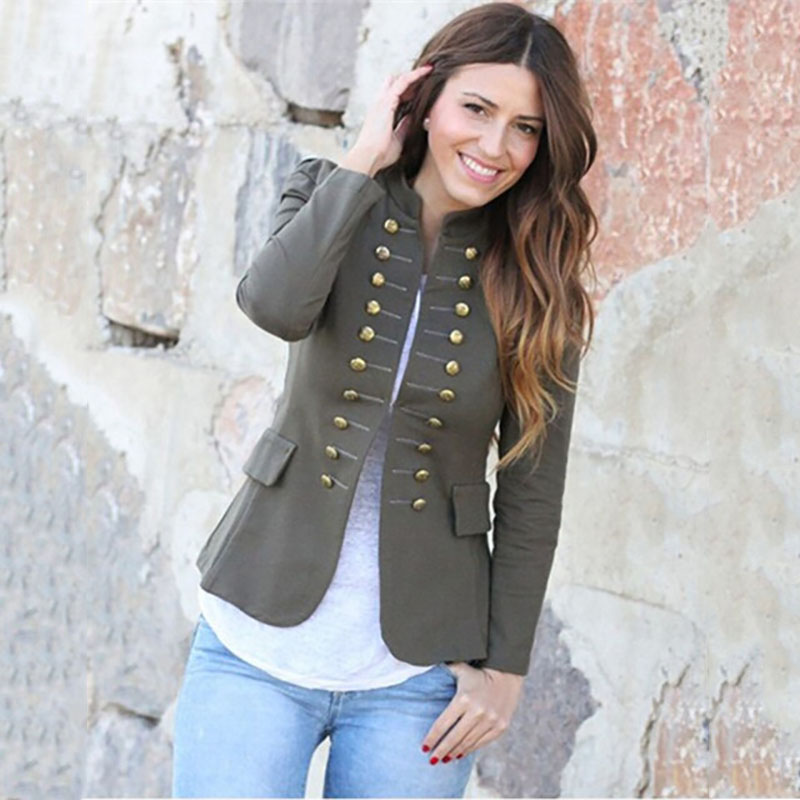 Spring Short Slim Fitted Plain Military Style Jacket For Women Vintage Open Front Coat Band Collar Top Outwear With Pockets Lady