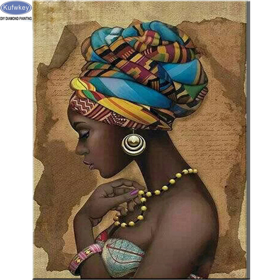 Diamond Embroidery African woman beauty DIY 5D Diamond Painting 3d Cross Stitch kits Needlework Full Rhinestones Home Decoration