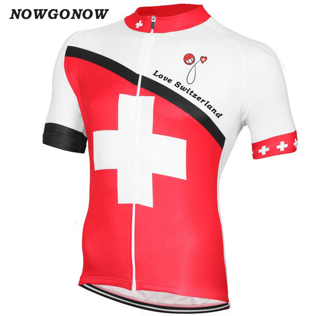 cycling jersey red  men bike clothing wear swiss pro team road mountain  white can wholesale custom full zip Breathable Polyester 032c52c99