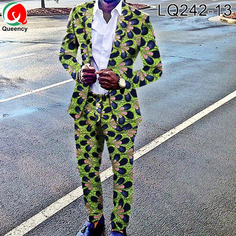 Queency Ankara Africano Costume Vestito di Stampa T Shirt In Cera Africano Africano Dei Pantaloni Degli Uomini di Vestito A Due Pezzi LQ242-in Tessuto da Casa e giardino su  Gruppo 2