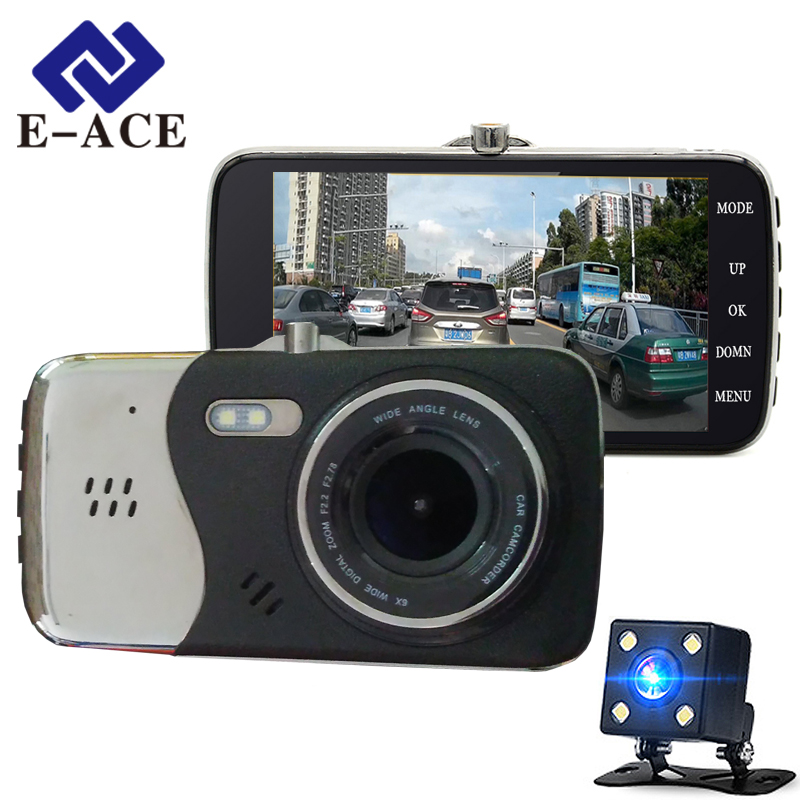 E ACE Auto Dvr Camera Dual Lens Full HD 1080P Car Video Recorder Night Vision Parking