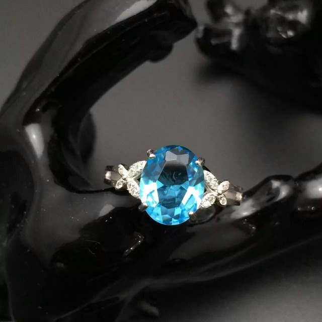 Natural light blue topaz ring 8*10mm topaz  solid 925 sterling silver rings for women valentine's day gift gemstone silver ring