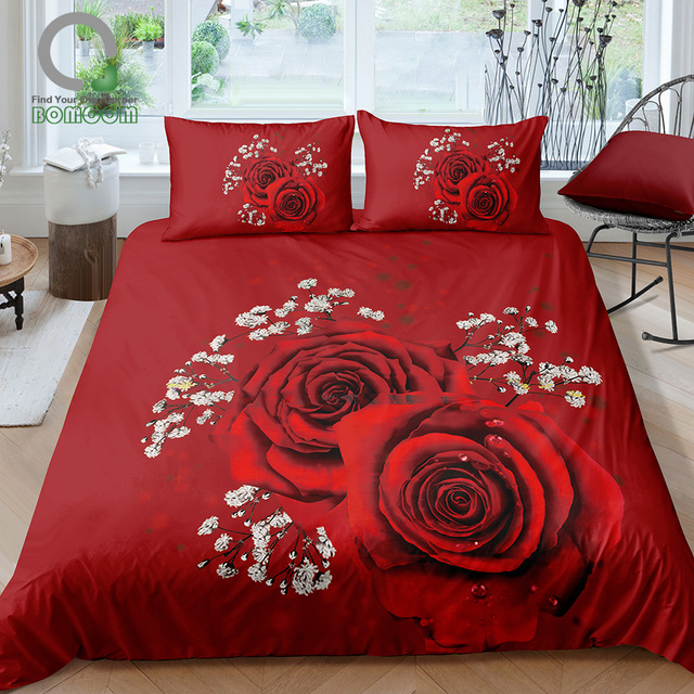 BOMCOM 3D Digital Printing Close up Red Rose Valentines Day Roses Bouquet Wedding Anniversary Bedding Set 100% Microfiber