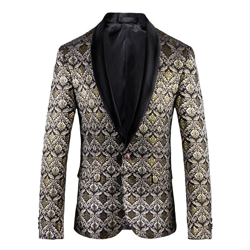 Молодежная мода мужской свадебный банкет хост платье ночной клуб парикмахерские золотой костюм куртка прилив хлопок один костюм