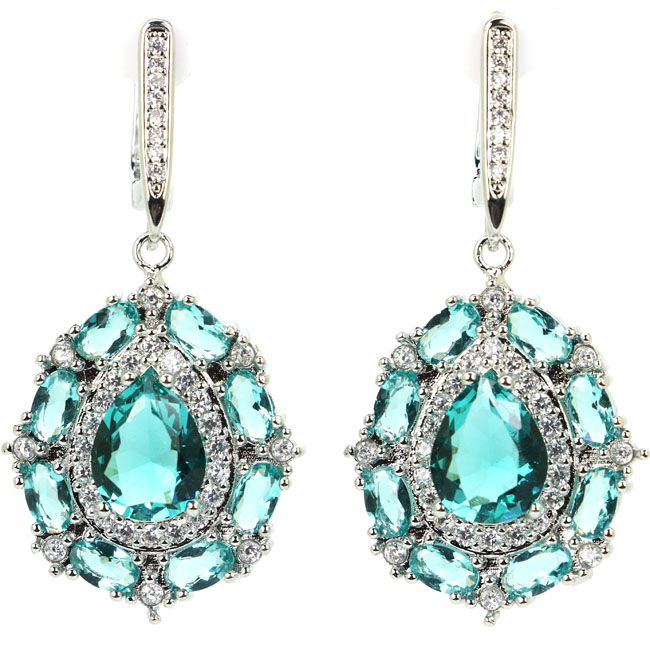 Deluxe Pear Shape Rich Blue Aquamarine Cubic Zirconia Womans Wedding 925 Silver Earrings 40x20mm