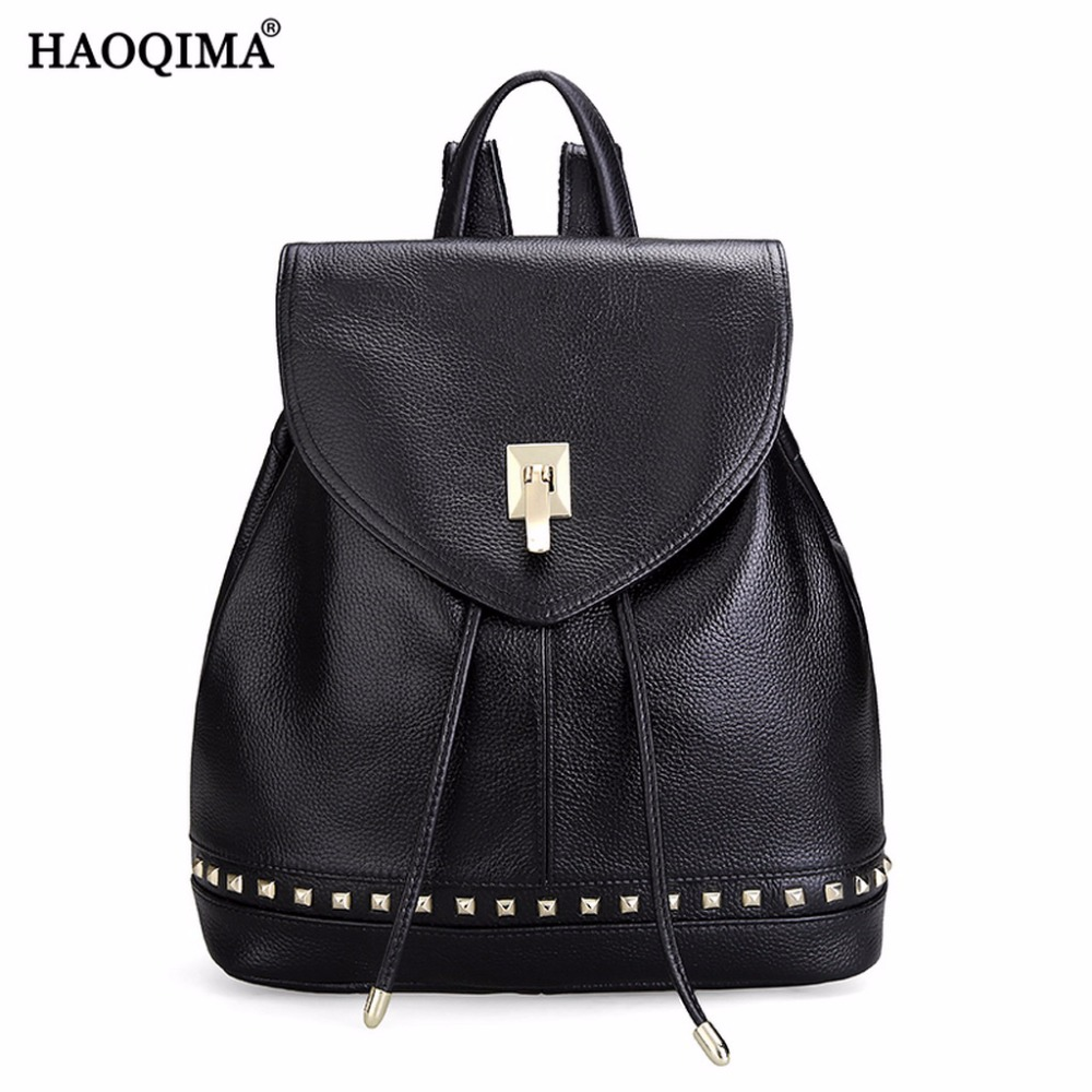 HAOQIMA Genuine Leather Real Cowhide Women Backpack Shoulder Bag