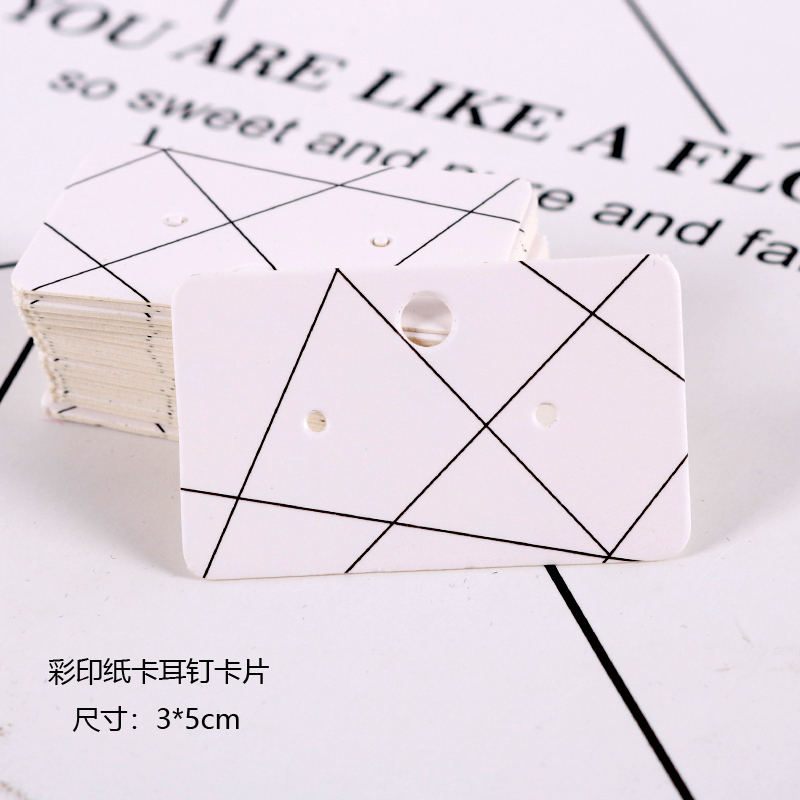 50Pcs/lot 3x5cm Colorful Designs White Jewelry Cards Paper Earrings Card Ear Studs Display Packaging Card Tags Can Custom Logo image
